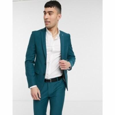 アヴェイルロンドン AVAIL London メンズ スーツ・ジャケット アウター Avail London skinny fit suit jacket in teal ブルー