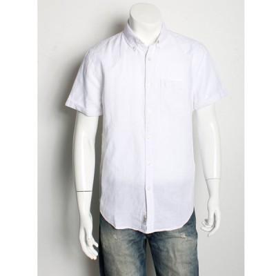 アバクロ / Abercrombie&Fitch メンズ 半袖 リネン シャツ ホワイト