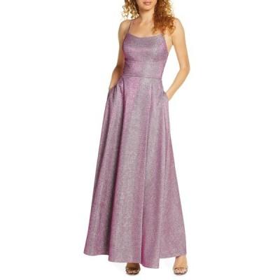 モーガン ワンピース トップス レディース Shimmer Strappy Back Gown Berry