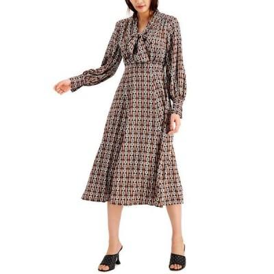 アイエヌシーインターナショナルコンセプト ワンピース トップス レディース INC Petite Printed Tie-Neck Dress,  Jolie Chain