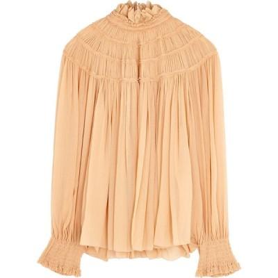 クロエ Chloe レディース ブラウス・シャツ トップス blush plisse silk-chiffon blouse Pink