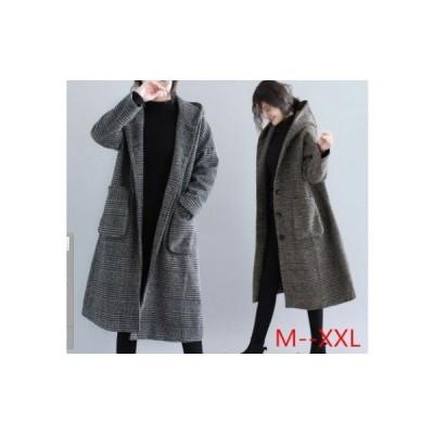 リアルショットスポット 冬の新しい プラスサイズの女性の格子パターン ミドル丈ウールコート ゆったりシルエット