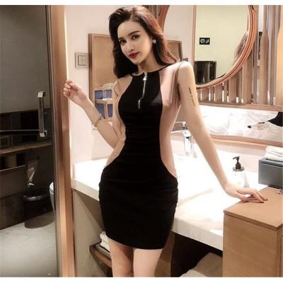 今から夏まで! 韓国ファッション CHIC気質 おしゃれな 大人気 トレンド セクシー フリルギャザー 縫付 ジッパー スリムフィット タイトスカート 袖なし ワンビース