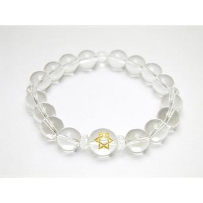 六芒星 水晶(金)12mm玉 水晶 ブレスレット 天然石 パワーストーン