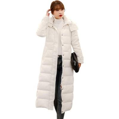 ロングコート レディース ダウンジャケット ダウン80% 暖かい 軽量 防風 防寒 ウルトラライト ダウンコート 無地 フー(s2012250388)