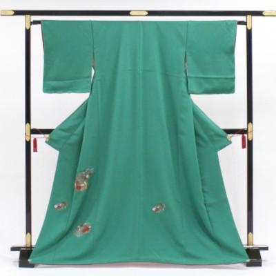 正絹 訪問着 お手入れ済のリサイクル訪問着 単品販売 刺しゅうを散らしたシンプルグリーン 希少なSサイズ