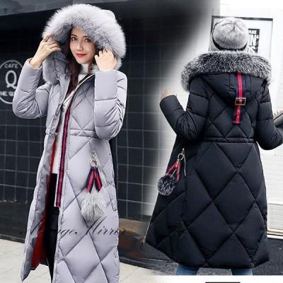 ダウンコート 中綿ダウンジャケット レディース 冬 40代 ロング丈ダウンコート アウター 暖かい ファー付フード オシャレ 大きいサイズ 軽量