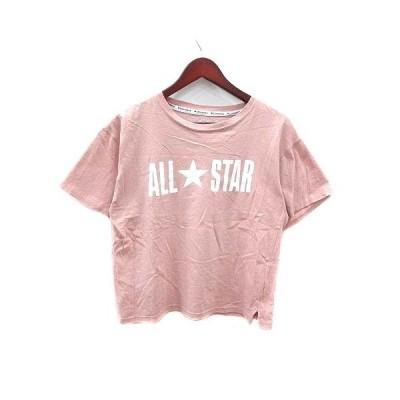 【中古】コンバース CONVERSE Tシャツ カットソー ロゴ 半袖 M ピンク /YK レディース 【ベクトル 古着】