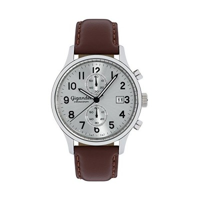Gigandet Men's Quartz Watch Skyscraper Chronograph Analog Leather Strap Silver Brown G49-002 並行輸入品