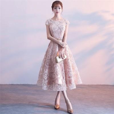 結婚式 ワントーン 大人 かわいい ベルト付 袖あり ドレス