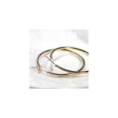 K18 YG ゴールド ピアス 地金ピアス フープピアス フープ hoop 4cm 18k 18金 人気 遮断式 定番 シンプル AL-0071