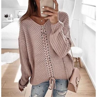 美少女すぎる!韓国ファッション Vネック ゆったりする 縫付 スリムフィット カジュアル セーター 旅行
