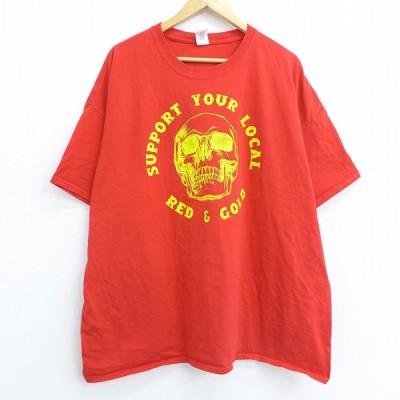 XL/古着 半袖 Tシャツ スカル レッド ゴールド 大きいサイズ コットン クルーネック 赤 20jul09 中古 メンズ