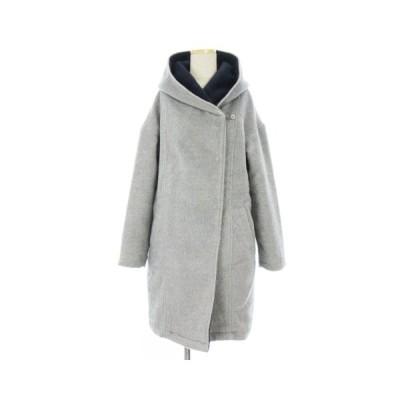 【中古】オゾック OZOC コート ミドル丈 起毛 フード 中綿入り グレー 灰色 38 アウター レディース 【ベクトル 古着】