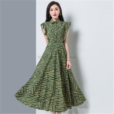 レディースファッション ファッションドレス2020韓国の夏の新しい気質の女性のスタンドアップカラーのウエスト痩身シフォンプリントミド