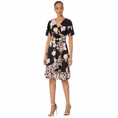 ドナモーガン ワンピース トップス レディース Short Sleeve Knit Jersey Faux Wrap Dress with Ruffle Hem and Twin Print Black/Pink