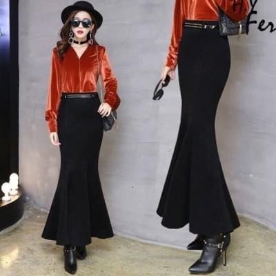 マーメイドスカート フィッシュテールスカート ストレッチ ドレスアップ ブラック レディース おしゃれ きれい系 スタイルアップ 3854