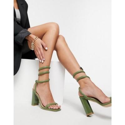 シミ SIMMI Shoes レディース サンダル・ミュール シューズ・靴 Simmi London Tour block heeled sandals with ankle wrap in olive オリーブ