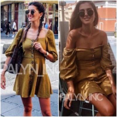 ファッション ドレス RARE_NWT ZARA AW18 OLIVE GREEN BUTTONED LINEN DRESS_XS S M L