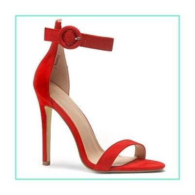 Herstyle Charming Women's Open Toe Ankle Strap Stiletto Heel Dress Sandals Elegant Wedding Party Shoes Red 7.0並行輸入品
