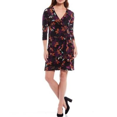 カルバンクライン レディース ワンピース トップス Autumn Floral Print Matte Jersey 3/4 Sleeve Faux-Wrap Dress Coffee Combo