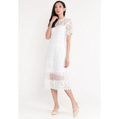 ベベバタフライ Bebebutterfly レディース パーティードレス イブニングドレス Short Sleeve Embroidered Maxi Evening Long Dinner Dress WHITE