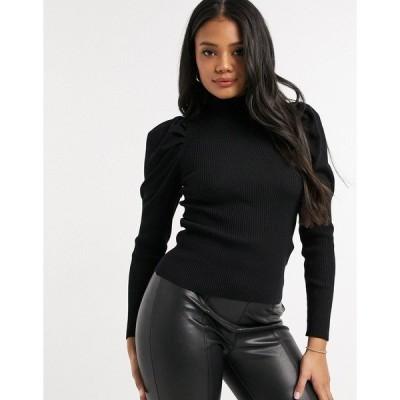 QEDロンドン レディース ニット&セーター アウター QED London puff sleeve sweater in black Black