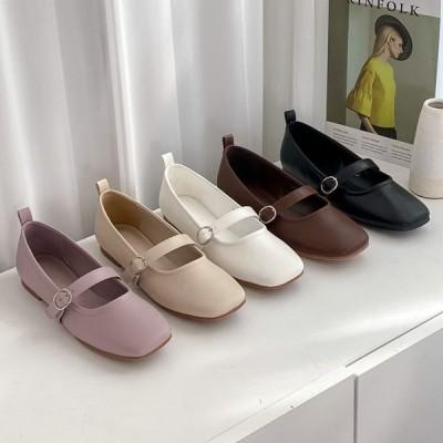パンプス バレエシューズ フラット スクエアトゥ フロントストラップ レディース ぺたんこ 靴 婦人靴 ブラック ホワイト ブラウン 黒 白 茶色 歩きやすい
