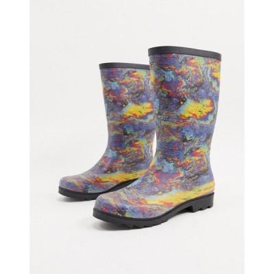 エイソス ASOS DESIGN メンズ ブーツ シューズ・靴 wellies in multi oil slick print マルチカラー