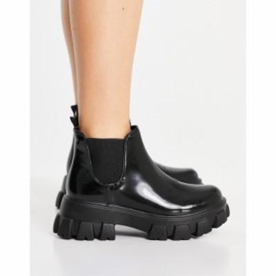 ミス セルフリッジ Miss Selfridge レディース ブーツ シューズ・靴 Miss Selfridfge patent boot with chunky sole in black ブラック