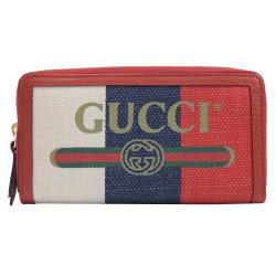 GUCCI 524790 復古印刷圖騰LOGO帆布拉鍊長夾.紅邊