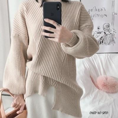 ボリューム袖ニット ニット セーター カットソーレディース リブ編み ロング パフスリーブ シンプル 無地 ゆったり かわいい jm1036