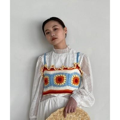 トップス 【SANSeLF】crochet knit frill bistier sanw73