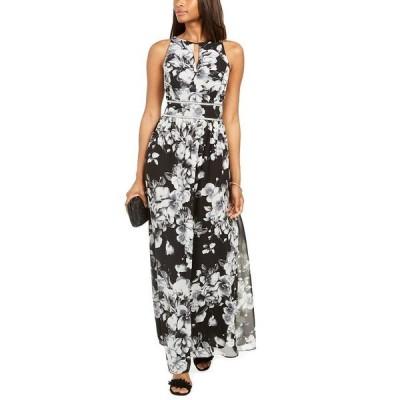 アールアンドエムリチャーズ ワンピース トップス レディース Rhinestone-Waist Floral-Print Gown Black/Ivory Floral