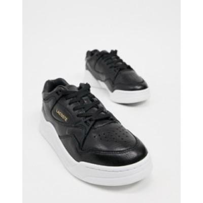 ラコステ レディース スニーカー シューズ Lacoste Court Slam flatform sneakers in black Blk/wht