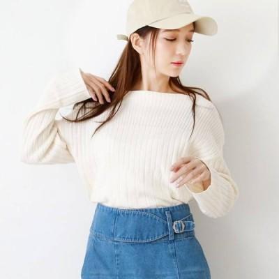 トップス Tシャツ カットソーリブ編み地 切り替え ボートネック レディース ファッション 上品 オシャレ キレイめ