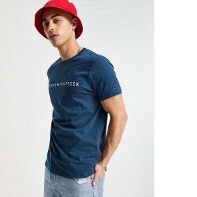 トミー ヒルフィガー メンズ シャツ トップス Tommy Hilfiger lounge t-shirt with established logo in navy Navy