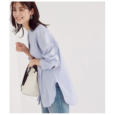 ROPE'/ロペ 【新色追加】バンドカラーブロードチュニックシャツ ブルー系(46) 38