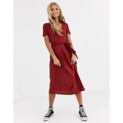 エイソス レディース ワンピース トップス ASOS DESIGN textured v neck midi dress with pleated skirt