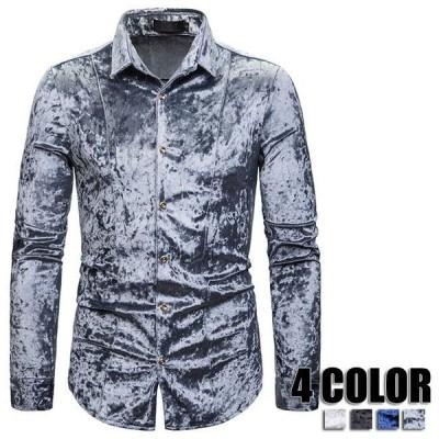 カジュアルシャツ メンズ 長袖 トップス スリム ボタンダウン ブラック ホワイト グレー ブルー シャツ カジュアルシャツ メンズ オシャレ 4色