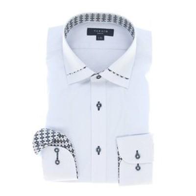 形態安定スリムフィット ワイドカラー衿切替長袖シャツ