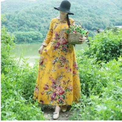 花柄 ロングワンピース 長袖 花柄ワンピース マキシワンピース リネンワンピース フレアワンピース 襟切り替えワンピース 長袖 レトロな