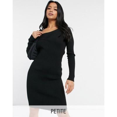 フォースレックレス ミディドレス レディース 4th & Reckless Petite knitted cross front jumper dress in black エイソス ASOS ブラック 黒