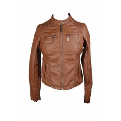 ファッション 衣類 Jou jou juniors brown zipper-front leather jacket