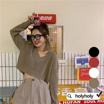 ★4COLOR★Vネックバックボタン装飾へそ出し長袖ニットカットソー★ニット カットソー ニットソー  レディース 韓国ファッション★holyholy★