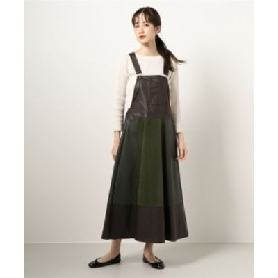 パンチングレザー切替え サロペマキシワンピース || レディースアパレル ドレス