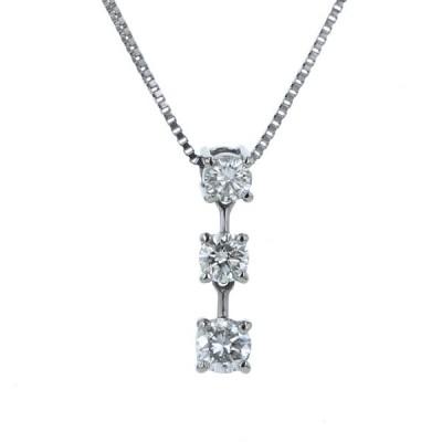 Pt850 Pt900 プラチナ ネックレス ダイヤモンド 0.30ct 3粒 ライン ストレート スイング 調節可 シンプル デザイン 42.5cm【新品仕上済】【el】【中古】
