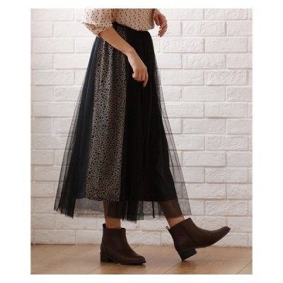 スカート ひざ丈 大きいサイズ レディース アニマル切替 プリント チュール重ね  LL/3L ニッセン
