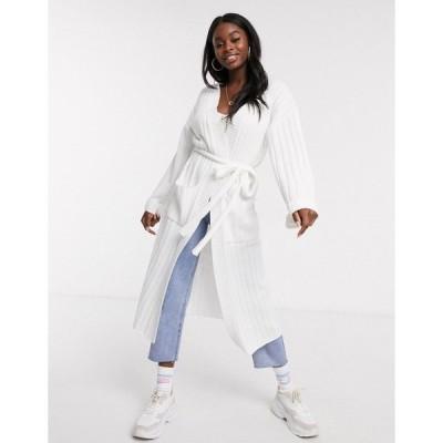 スカイラーローズ レディース カーディガン アウター Skylar Rose maxi cardigan with belted waist in light knit White
