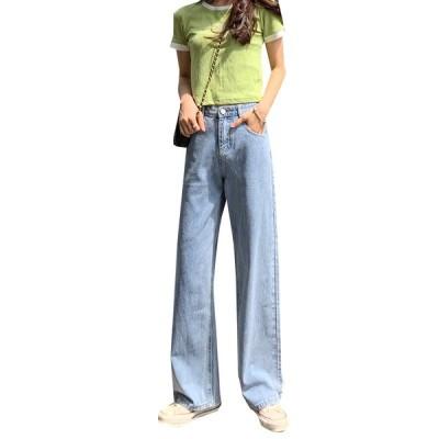 ジーンズ ワイドパンツ デニム 韓国ファッション レディース ハイウエスト 体型カバー パンツ カジュアル ガールズ オルチャン